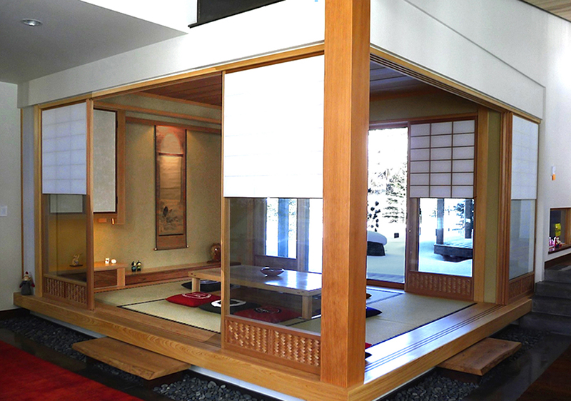 Japanese interiors japanese tearooms california for Japanese tatami room design