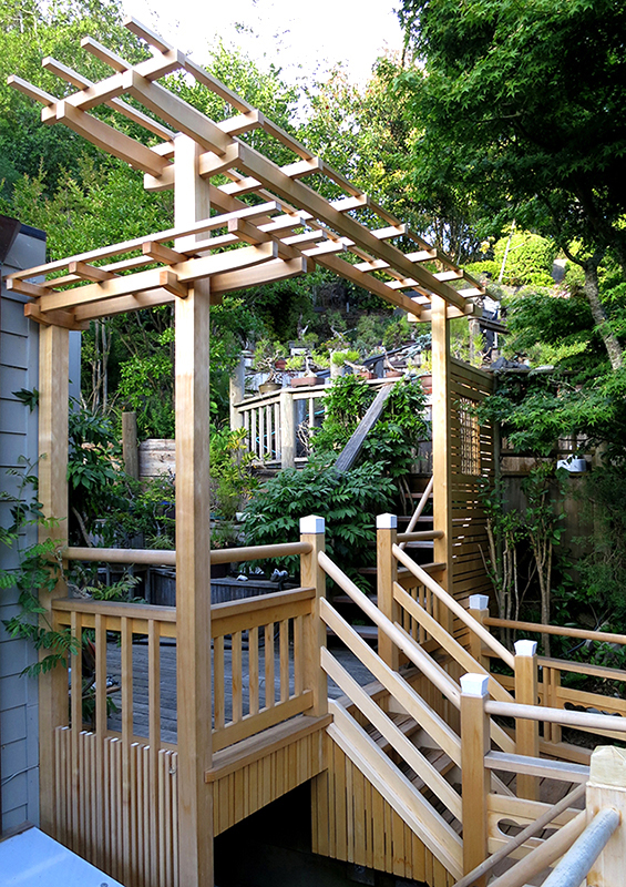 Japanese garden structures, viewing pavilions, bridges